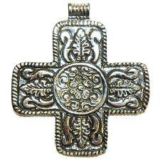 P2666 Antiqued Silver 64mm Flower Embellished Swiss Cross Aluminum Metal Pendant
