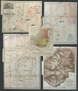 Five 1873 New York NY ADIRONDACK MOUNTAINS SURVEY REPORT MAPS, Verplanck Colvin