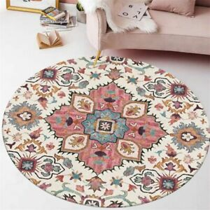 Area Rug Carpet Living Room Ethnic Style Flower Pattern Not Fade Round Decor