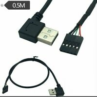 USB 2.0 A Male Left /Right Angle to Dupont 5 Pin Female Header Motherboard Cable