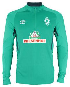 Umbro Men's 19/20 SV Werder Bremen Half Zip Long Sleeve Pullover Shirt, Green