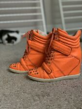 $190 Boutique 9 Nevan Sz 7.5 M Orange Leather High Top Fashion Sneakers Shoes