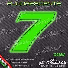 Adesivo Stickers NUMERO 7 moto auto cross gara Verde FLUORESCENTE 10 cm
