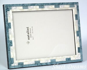 Natalini Hand Made Italy Marquetry Blue Mother of Pearl 5x7 Picture Photo Frame