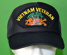 VIETNAM VETERAN POLY FOAM MESH BALL CAP black Hat - Vietnam Service Dragon  354