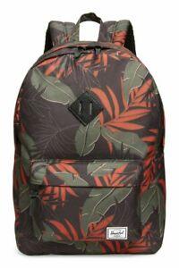 NWT Herschel Supply Co. Heritage Dark Olive Palm Floral Pattern Backpack Bag