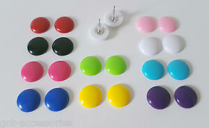 Small 14mm shiny button style stud earrings - 13 gorgeous colour options! *NEW*