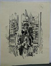 Dessin Original Encre Claude Schürr (1921-2014) Le Couple 1960 SHU2