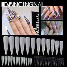 500X Long Stiletto Pointy False Nail Tips 10 SIZE Natural/Clear/White Art  A