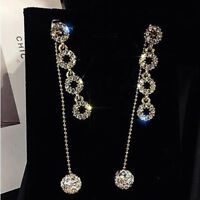 Women Long Chain Crystal Rhinestone Ball Tassel Pendant Earrings Jewelry Gift SI