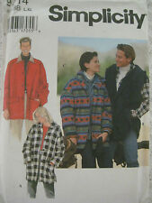Vintage Simplicity 9714 HOODED JACKET Sewing Pattern Men Women Can Be Sleeveless