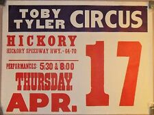 Circus Poster TOBY TYLER Hickory Speedway North Carolina HWY. - 64 - 70 April 17
