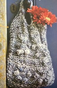 Cable Shopping Handbag With Bobbles Chunky Weight KNITTING PATTERN