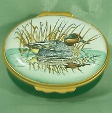 Halcyon Days Green-Winged Teal Duck Waterway Enamel Trinket Box Mint V Bennett