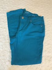 Crown & Ivy straight colored jeans in turquoise size 6