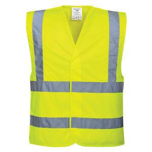 Portwest Hi-Vis Two Tape & Brace Safety Vest High Visibility Reflective Viz New