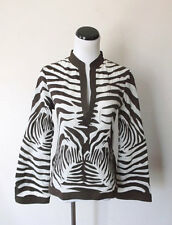 Tory Burch brown white embroidered animal zebra print tunic top 4 S