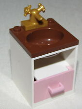 LEGO WHITE BATHROOM SINK SET UP BROWN TOP CUPBOARD AND GOLD FAUCET
