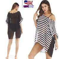 US Women Sexy Beachwear Stripe Swimwear Bathing Suit Coverup Summer Bikini Dress