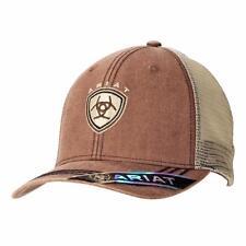 Ariat Western Mens Hat Baseball Cap Mesh Snap Shield Logo Faded Brown 1509702
