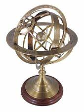 Große Armillarsphäre, Barocke Weltmaschine, Messing bronziert, Edelholz