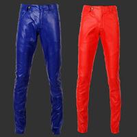 Men's Pencil Pants Leisure Faux Leather Trousers Stylish Low Waist Slim Tights