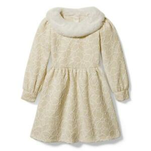 NWT JANIE and JACK Metallic Faux Fur Collar Dress - Size 6 - Cream & Sugar