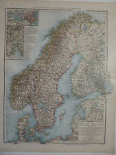 2 Landkarten von Schweden und Norwegen, Lithographie, Andrees 1897