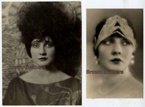 Vintage 1920s Silent Film Star Betty Blythe Frizzy Hair Headband DBW Photos 2 pc