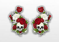 Skull With Red Roses and Leaves Vinyl Sticker Decal Window Car Van Bike 002