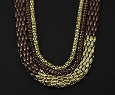 Style&co.Bronze and Gold -Tone Set Of 3 Long Mesh Chain Necklace 38""