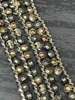 Vintage Bohemian Gold Silver Copper Rhinestone Knotted Tassel Chain Necklace 36""