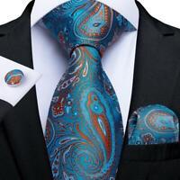 USA Blue Red Paisley Silk Tie Set Mens Necktie Hanky Cufflinks Wedding Party