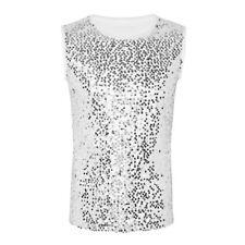 Men Punk Glitter Sequins Tank Tops Nightclub Retro Summer Crewneck T-Shirt Vest