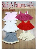 CROCHET PATTERN for BABY GIRL DRESS & 3 APRONS 3 Sizes #296 NOT CLOTHES