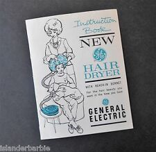 Vintage General Electric GE Bonnet Style Hair Dryer Instruction Folder
