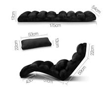 Black Adjustable Lounge Recliner Sofa Bed & Pillow Chaise Chair Folding Portable
