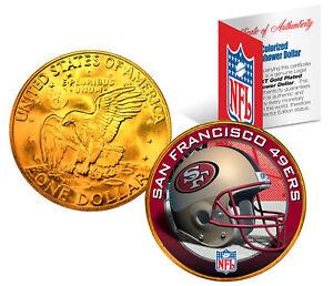 SAN FRANCISCO 49ERS NFL 24K Gold Plated IKE Dollar US Coin * NFL LICENSED *