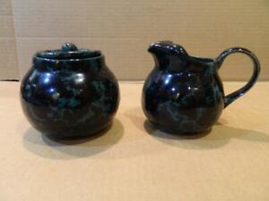 Bennington Potters Vermont Blue Agate Creamer & Sugar Set Vintage