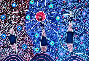 "New stunning aboriginal art on canvas ""Three Sisters"" signed by artist COA"