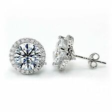 Halo Stud 925 Sterling Silver Earrings 4 Ct Round Cut Created Diamond FE8102