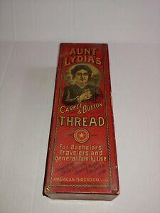 VINTAGE AUNT LYDIA'S Button & Carpet Thread Cardboard Box