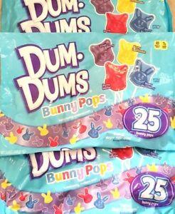 3X Bags Dum Dums Bunny Pops Variety Flavor Candy 8.8oz , X-12/2022