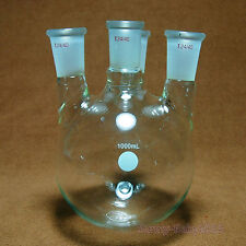 1000ml,24/40,4-Neck,Round Bottom Glass Flask,1 L,Four Necks,Lab Chemical Vessel