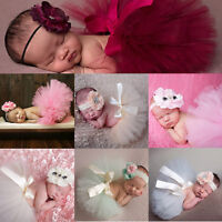 Newborn Baby Infant Girl Boy tutu Skirt Dress Hairband Photo Photography Props