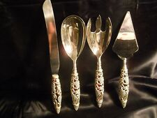 4 pc. Sliver Plate Flatware Set w/ Red Handles & Silverplate Grapevines Godinger
