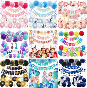 Happy Birthday Party Decorations Banner Bunting Balloons Pompom Party Set
