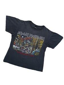 Iron Maiden Camiseta número de la bestia tono gris banda logotipo oficial para hombre negro