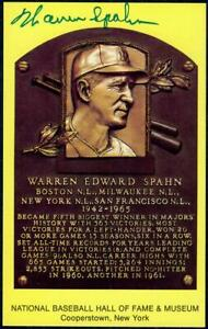 Spahn hand signed hall of fame yellow plaque postcard JSA auth