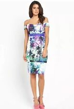 New LIPSY @ Next Size 8 Multi Palm Print Ribbed Bardot Dress Evening Going Out